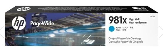 Image of Genuine HP 981X L0R09A Cyan Ink Cartridge